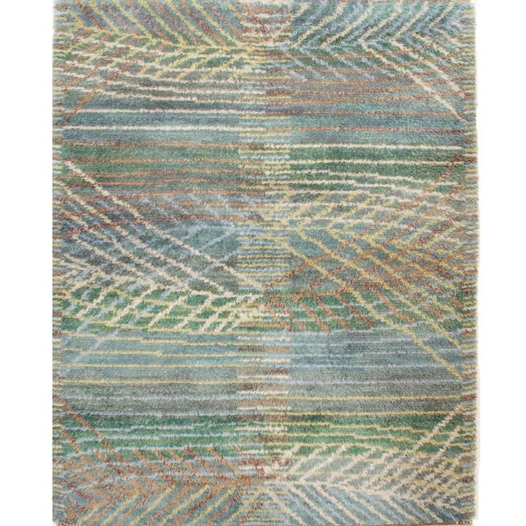 Mid-Century Marta Maas-Fjetterström AB Swedish Rug Signed by Barbro Nilsson For Sale