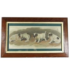 Oil Sketch of Playful Puppies