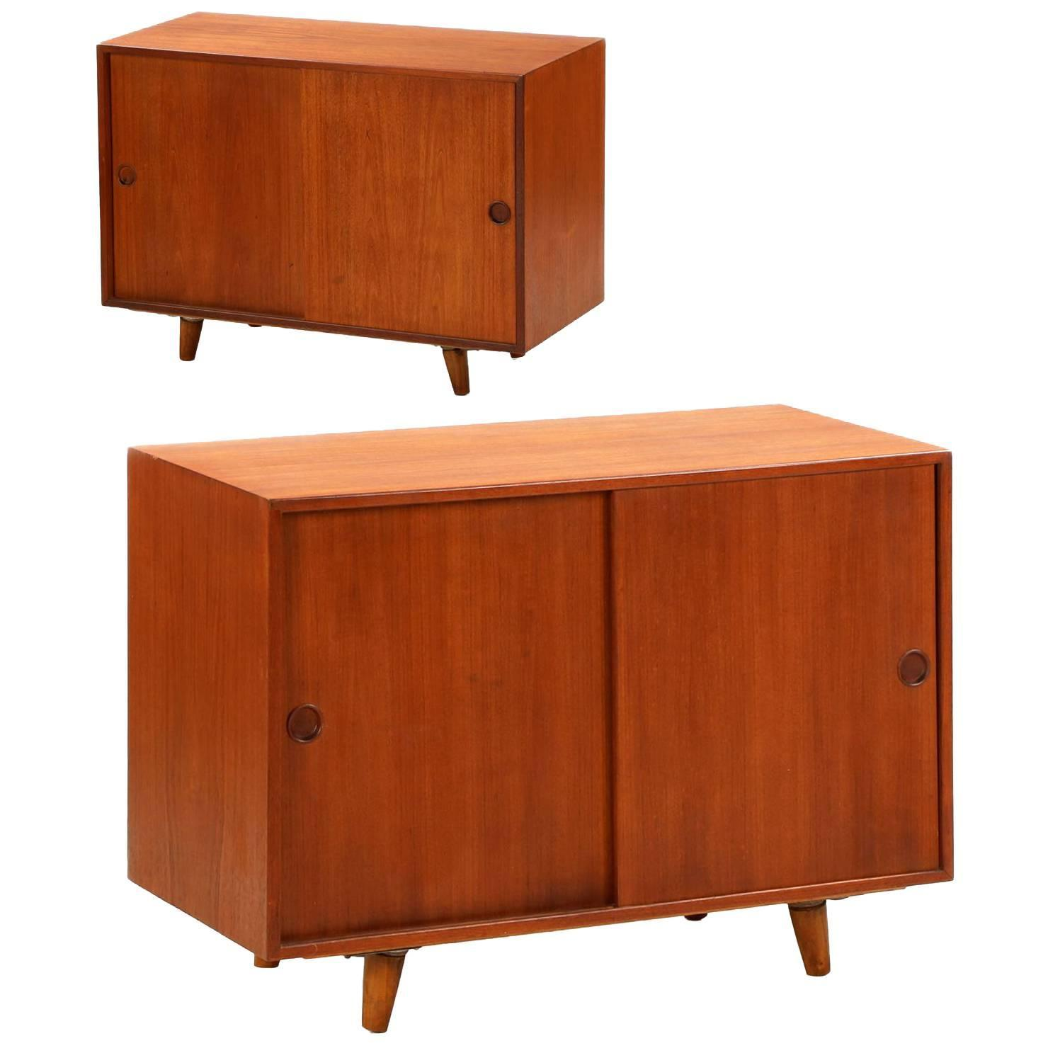 Pair of danish mid century modern teak cabinets nightstands by peter hvidt for sale at 1stdibs