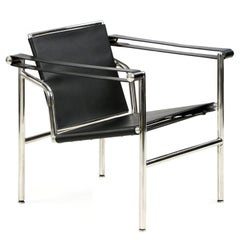 Chrome and Leather Slingback Armchair after Le Corbusier LC1 Basculant