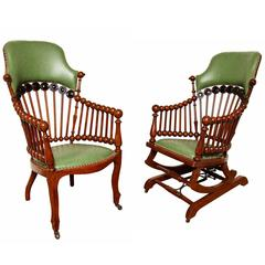 Matching Green Upholstered Armchair and Rocker by Hunzinger