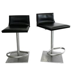 Italian Leather and Steel Height Adjustable Bar Stool by Frag