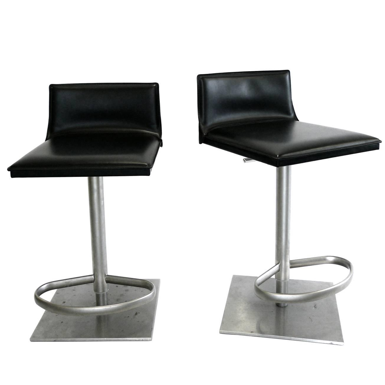 Italian Leather And Steel Height Adjule Bar Stool By Frag At 1stdibs