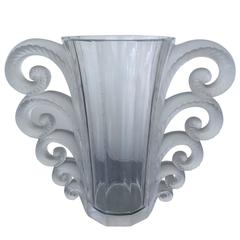 "Lalique ""Beauvais"" Frosted Clear Glass Vase, France, circa 1945-1978, Marked"