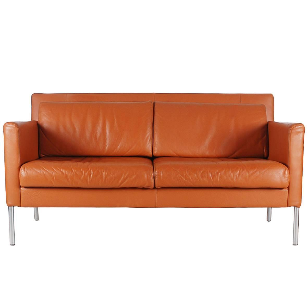 Mid century modern leather sofa after b rge mogensen for for Mid century modern leather sofa