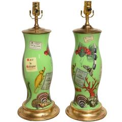 Pair of French Decoupage Lamps