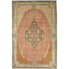 Large Vintage Hand Knotted Wool Room Size Savonnerie Design Turkish Rug
