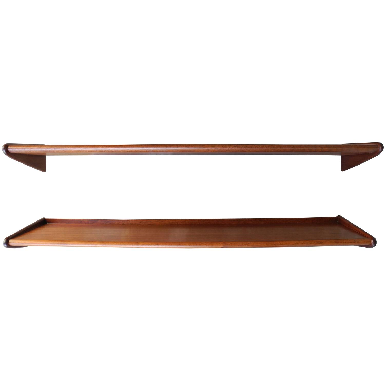 mid century danish modern teak floating shelves 1950s for. Black Bedroom Furniture Sets. Home Design Ideas