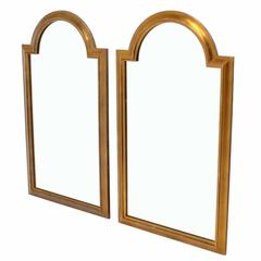 Pair of Gold LaBarge Rectangle Arch Top Mirrors