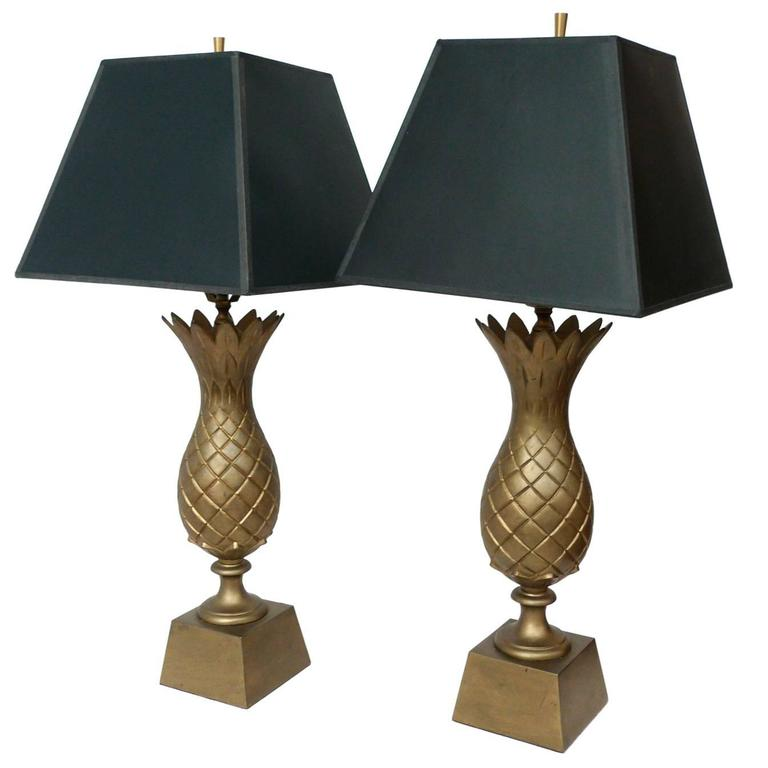 1960s brass pineapple lamps a pair for sale at 1stdibs. Black Bedroom Furniture Sets. Home Design Ideas