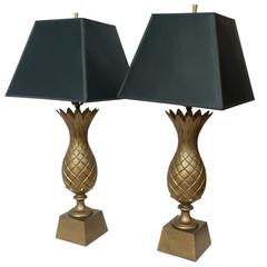1960s Brass Pineapple Lamps, A Pair