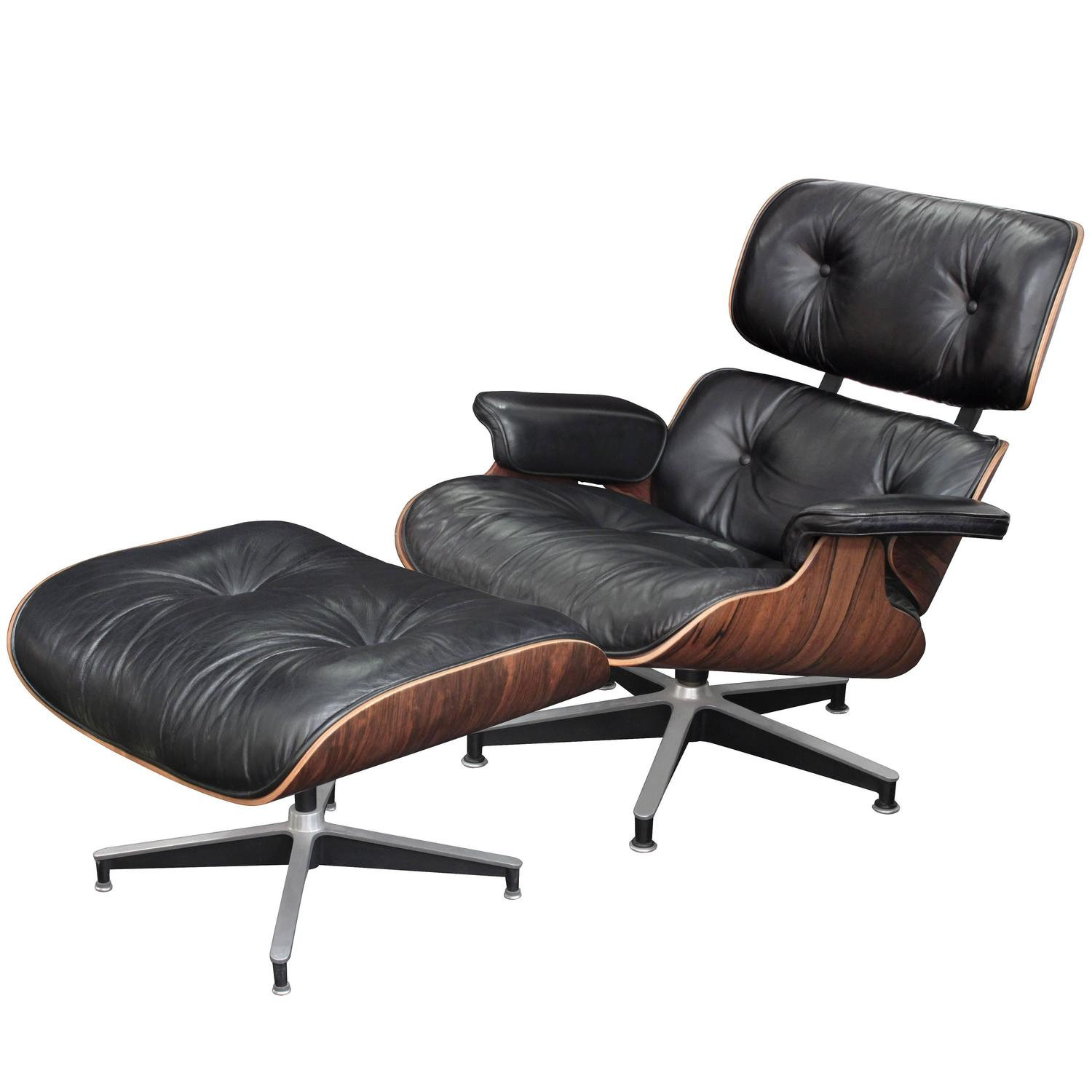 Iconic lounge chair and ottoman by charles and ray eames for Charles eames lounge chair nachbildung