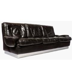 Vintage French Leather Sofa by Jacques Charpentier