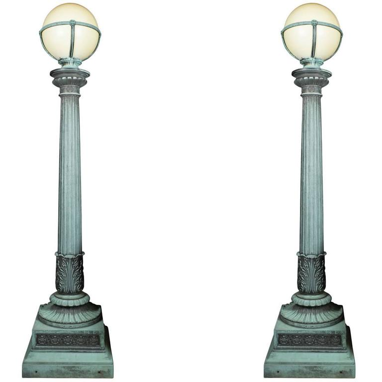 Pair of Cast Bronze Entry Lamps For Sale