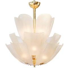 Murano Petal Glass Brass Chandelier