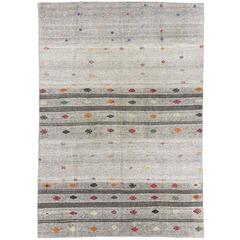 Striped Anatolian Kilim with Colorful Embroidery