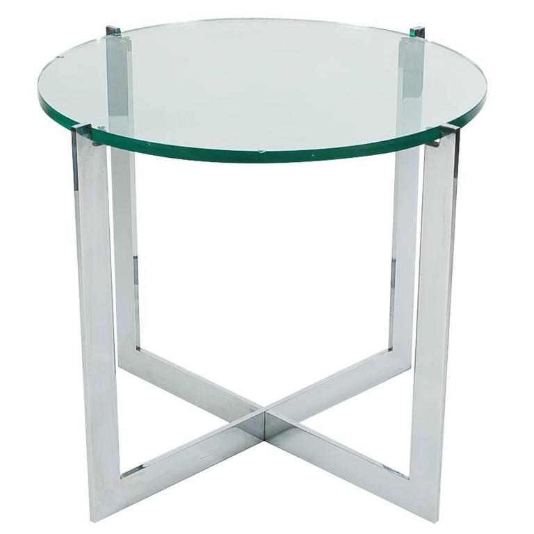 Mid-Century Milo Baughman Chrome and Glass Side Table for Thayer Coggin