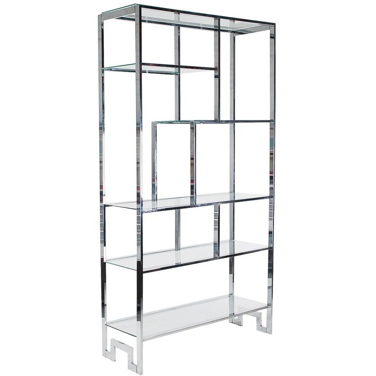 Mid-Century Modern Chrome and Glass Etagere after Milo Baughman