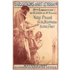 French Art Nouveau Period Art Exhibition Poster by Victor Prouve, 1910