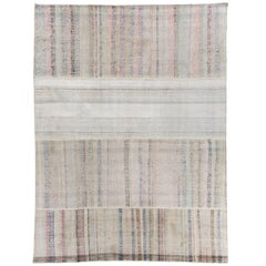 Vintage Cotton Rag Rug with Pastel Colored Stripes