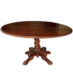 Anglo-Indian Oval Rosewood Pedestal Table