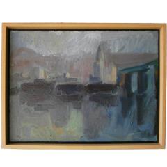 LA Cityscape Circa 1960's by California Artist Richard Lem (1933-2004)
