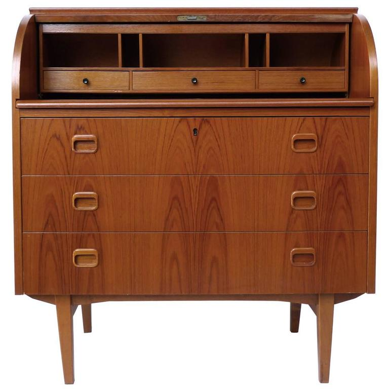 Midcentury Danish Rosewood Roll Top Secretary Desk In The Style Of Omann Junior For