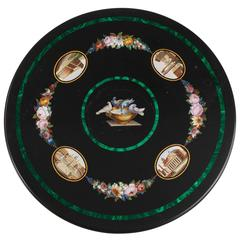 Micromosaic and Inlaid Malachite Black Marble Table Top
