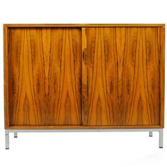 Beautiful 1960s Sideboard with Chrome Metal Base and Unique Rosewood Pattern