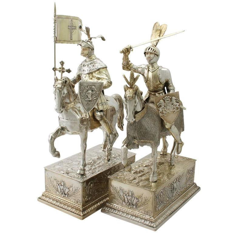 1910s Antique Pair of German Silver Table Knights on Horseback