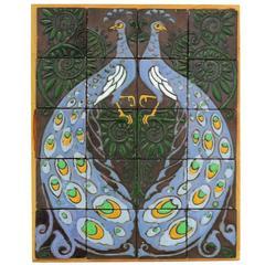Art Nouveau Carduus Tile Plateau with Peacocks by T.W. Nieuwenhuis for De Distel