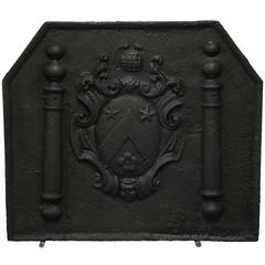 Antique French Fireback Displaying Pillars and Royal Arms of France