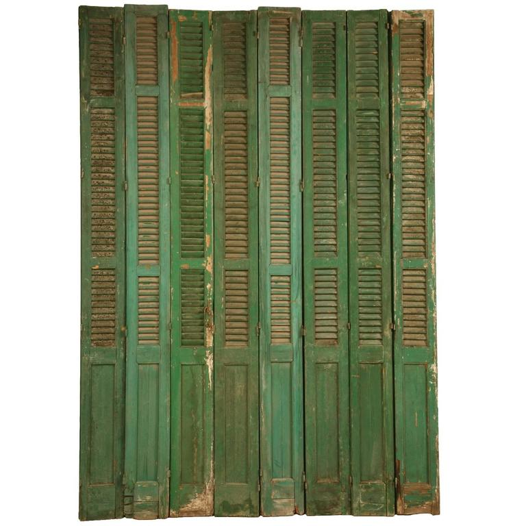French Shutters in Original Paint For Sale