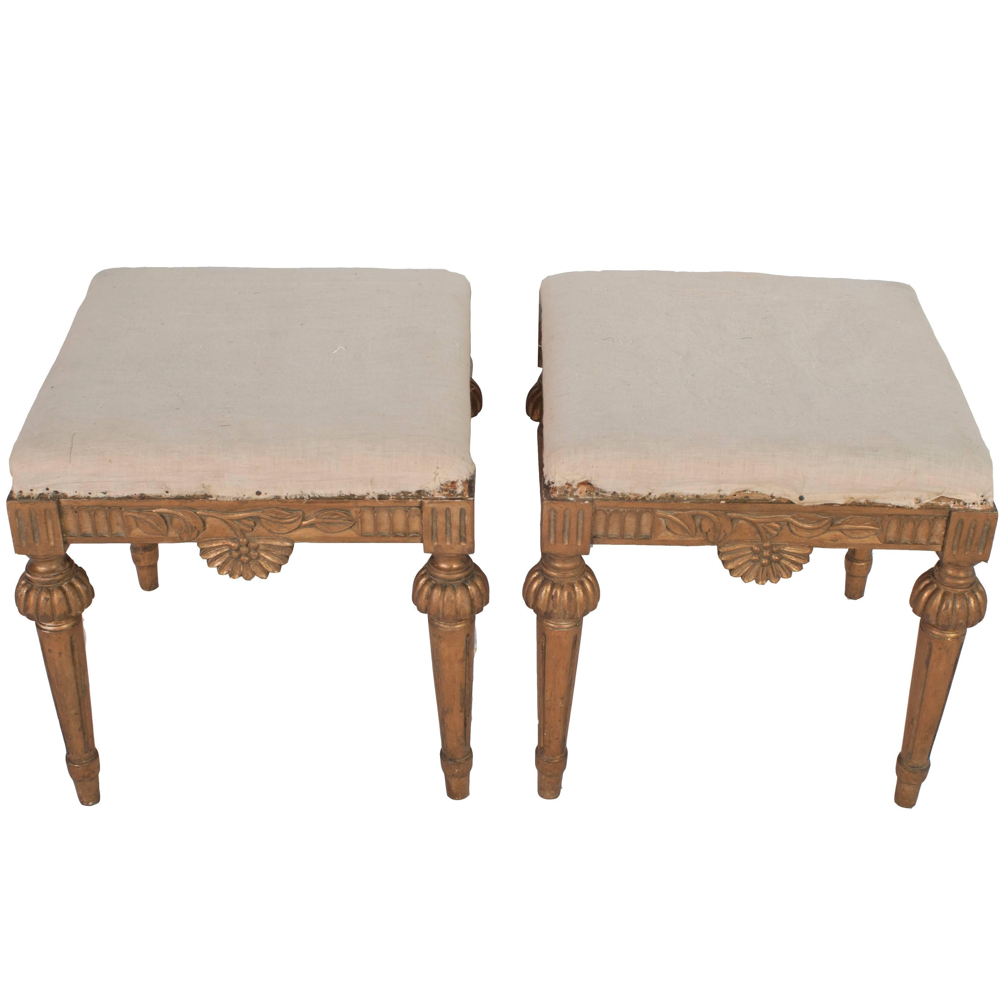 Pair of Natural Wood Gustavian Stools, Stripped to Their Natural Wood Color