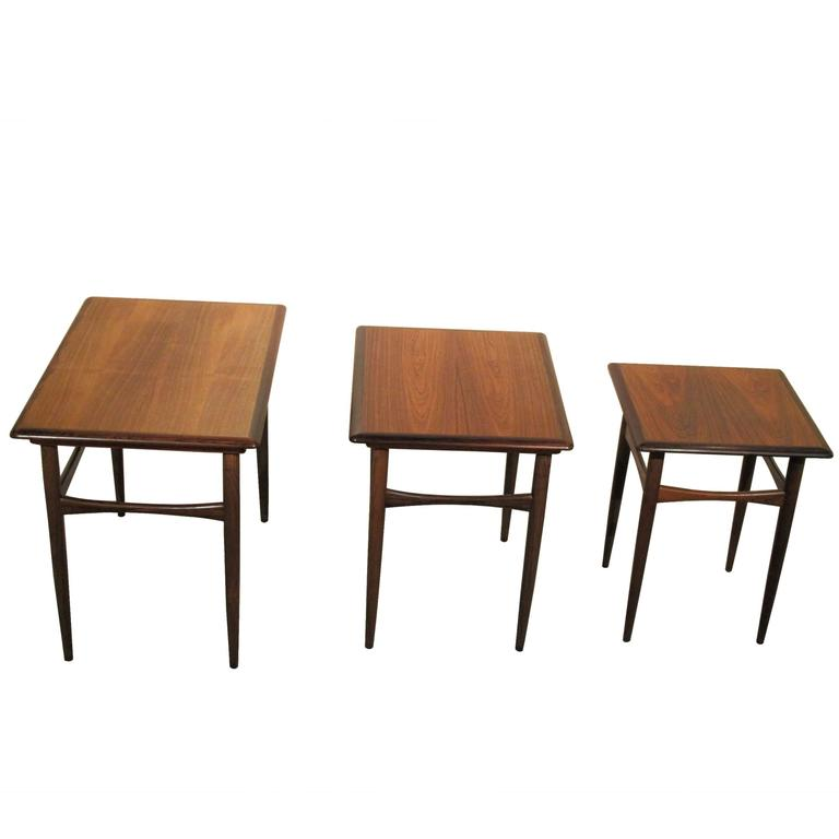Good Set Of Mid Century Modern Nesting Tables By Poul Hundevad, Denmark For Sale