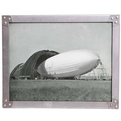 Machine Age Art Deco USS Akron Goodyear Zeppelin Duralumin Framed Litho