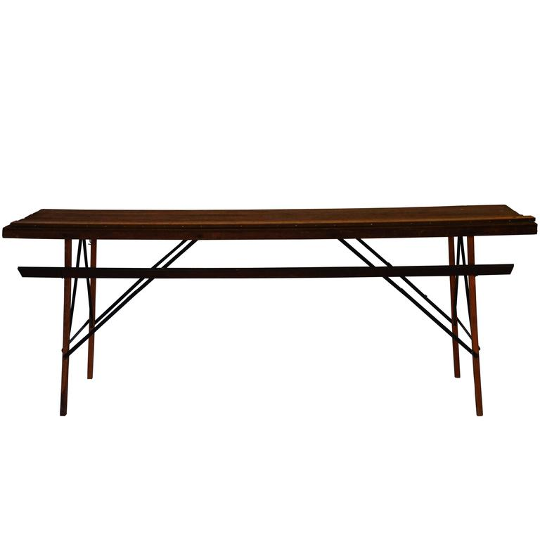 Industrial Wood and Steel Wallpaper Table
