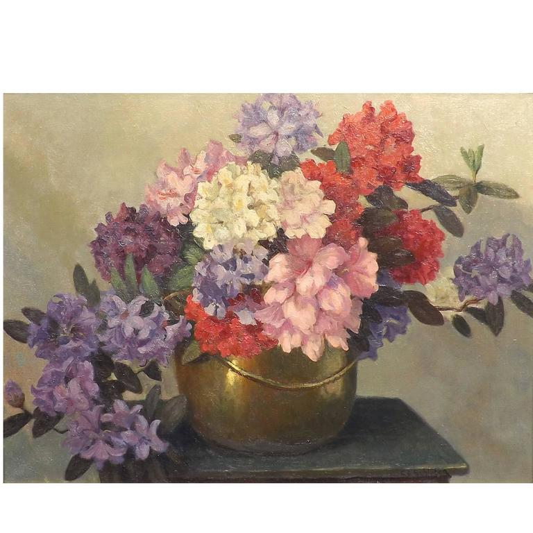'Rhododendrons' Floral Painting by Dutch Artist Carl Schlüter For Sale