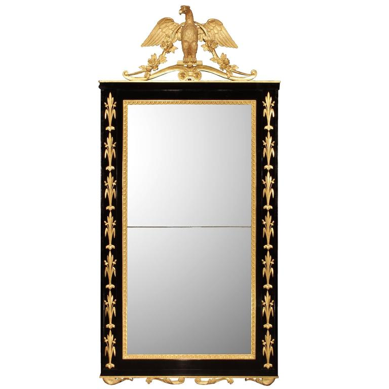 Italian Early 19th Century Neoclassical Style Ebony and Giltwood Mirror