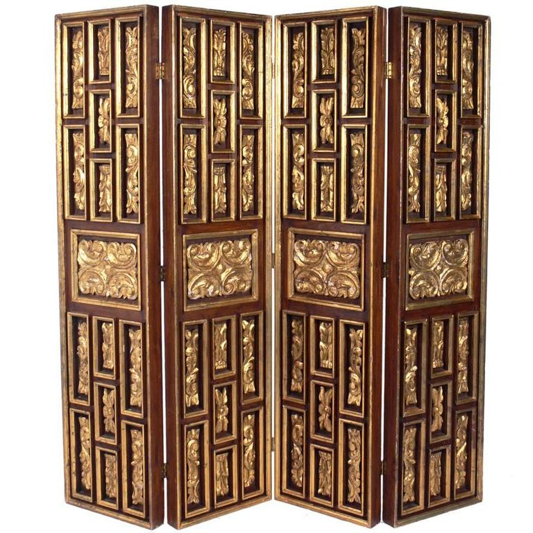Gilt Italian Folding Screen  1