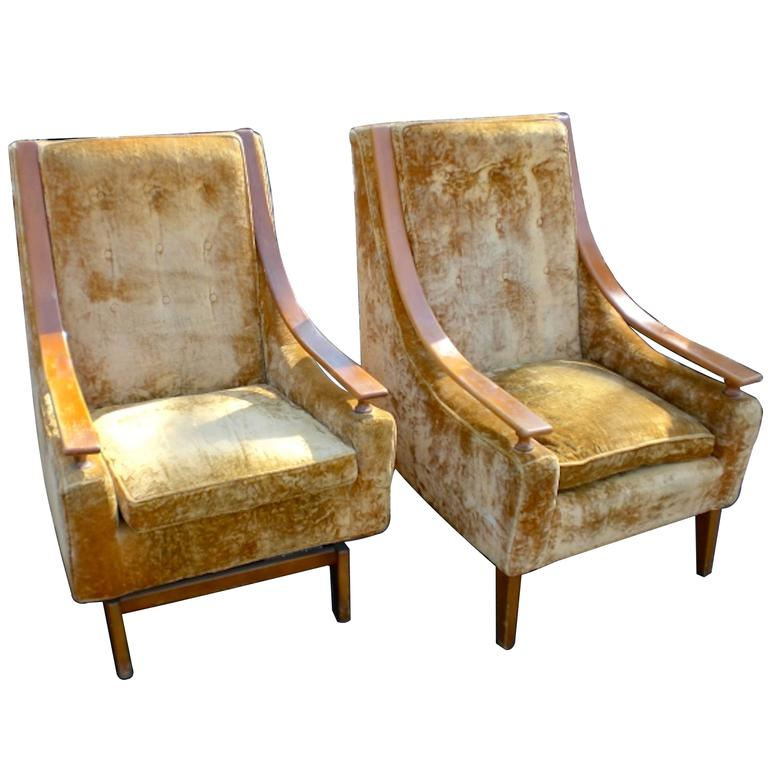 Mid Century Tall Back Chairs For Sale