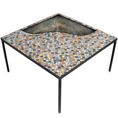 Mosaic Tile Coffee Table with Inset Planter or Drink Cooler