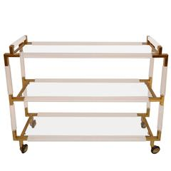 "Rare Charles Hollis Jones Lucite and Brass Bar Cart from the ""Metric"" Collection"