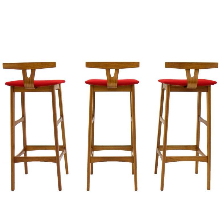 Erik Buch Bar Stools Teak Wood Red Kvadrat Fabric