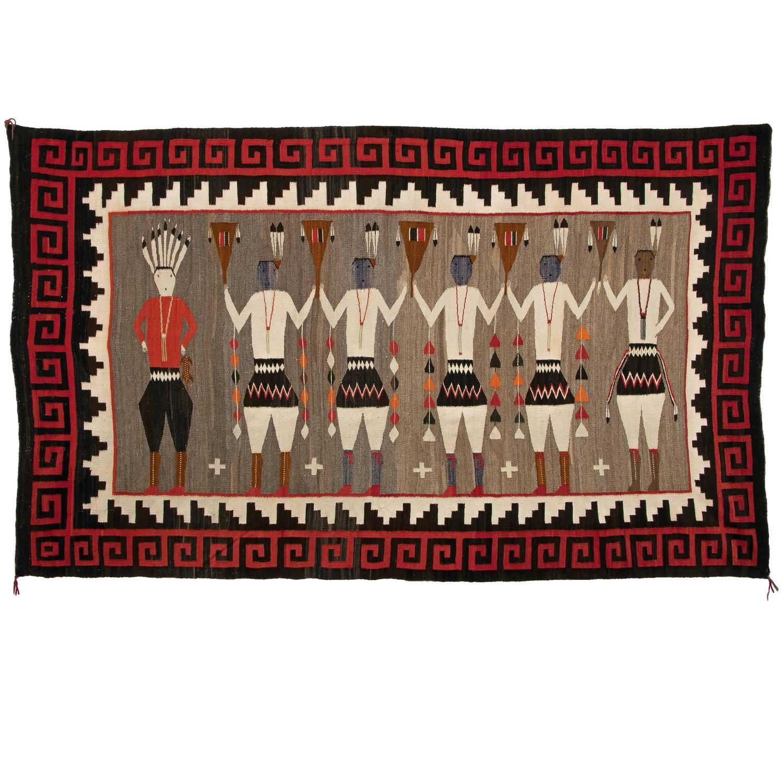 Vintage Navajo Rug Pictorial Yeibichai From Lukachukai