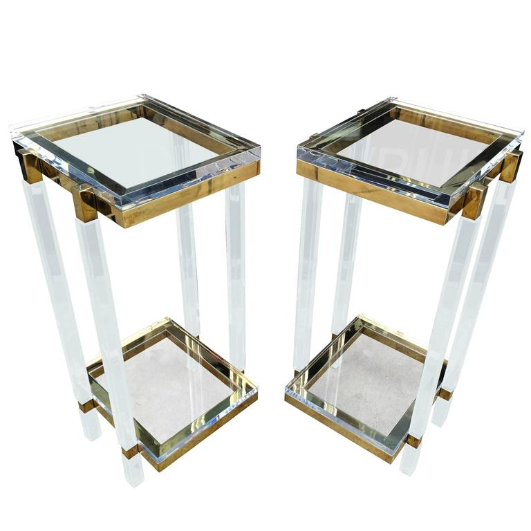 Brass and Lucite Side Tables or Pedestals by Charles Hollis Jones