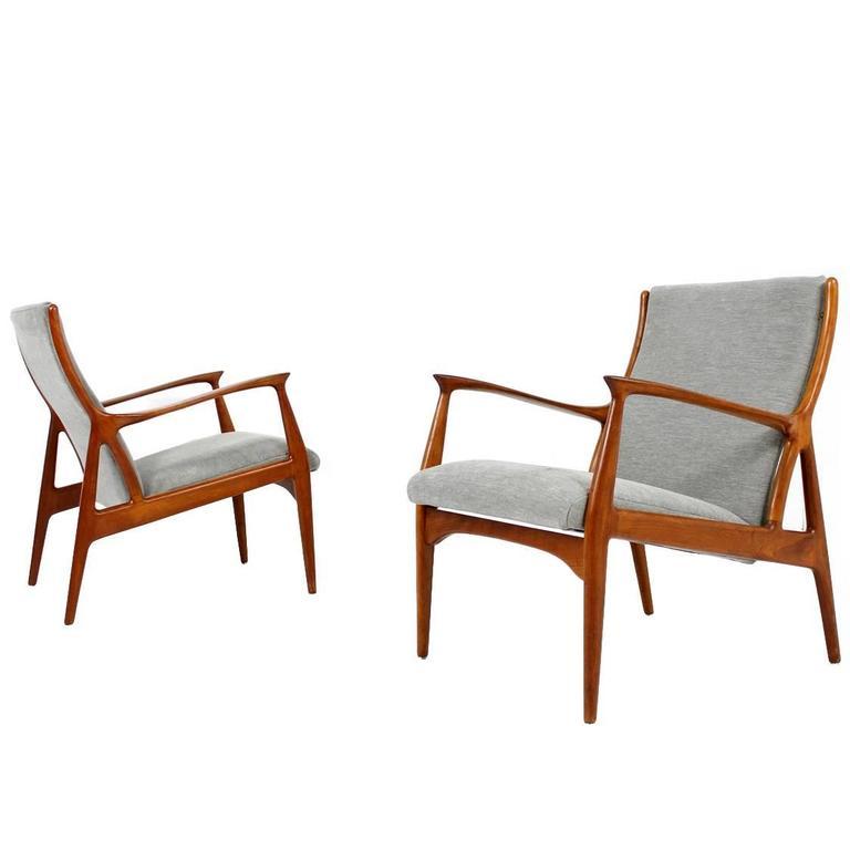 pair of 1960s danish teak easy lounge chairs erik andersen and