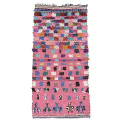 Pink Checkers Boucherouite Rug