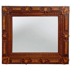 Impressive Complex Tramp Art Mirror with Stars