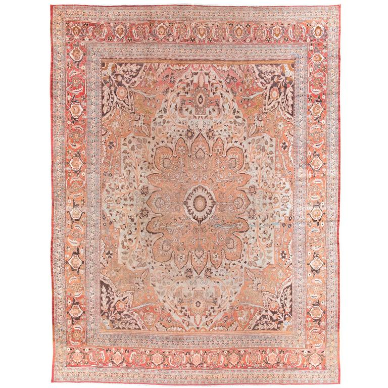 Antique Tabriz Handwoven Wool Rug 1